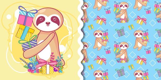 Ручной обращается милый ленивец с подарком с рисунком