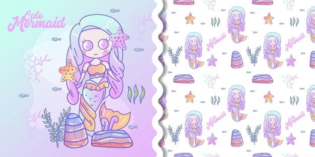 Симпатичные бесшовные модели с русалками и медузами. бирюзовый и коралловый цвета.