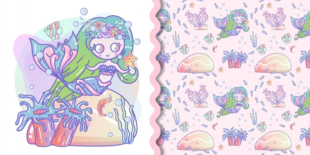 Милая русалка с маленькой рыбкой векторная иллюстрация для детей и бесшовные модели