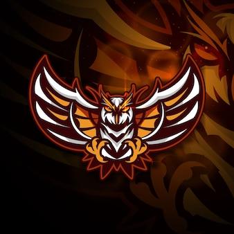 フクロウの頭のマスコットのロゴ