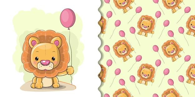白地にかわいい漫画のライオン