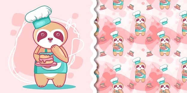 Ручной обращается милый ленивец с тортом для детей