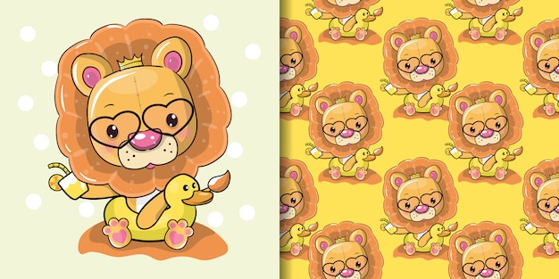 Милый мультфильм лев в летнее время