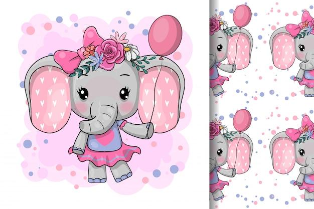 Милый мультфильм слоник с цветами