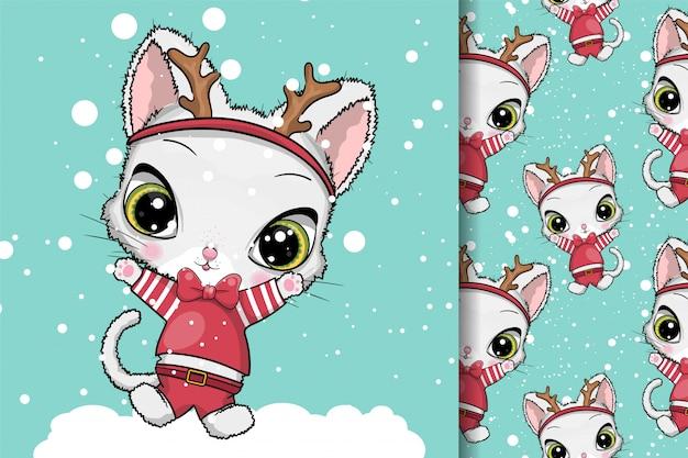 Открытка новогодняя кошка