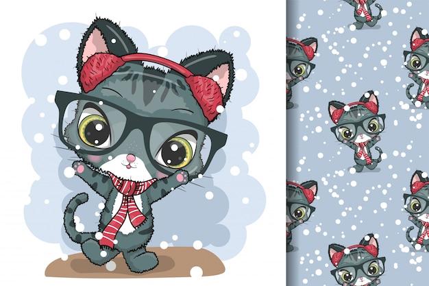 グリーティングカードクリスマス猫