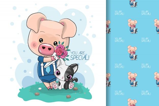 子供とシームレスなパターンの花を持つクールな漫画かわいい豚
