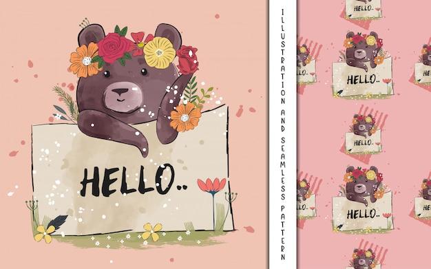 Милая иллюстрация медведя для детей