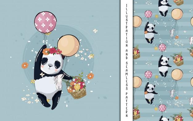 Маленькая панда с шарами иллюстрации для детей