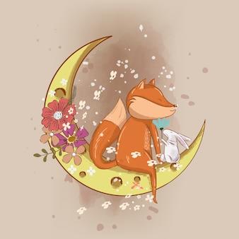Нарисованная рукой милая лиса на иллюстрации луны для детей