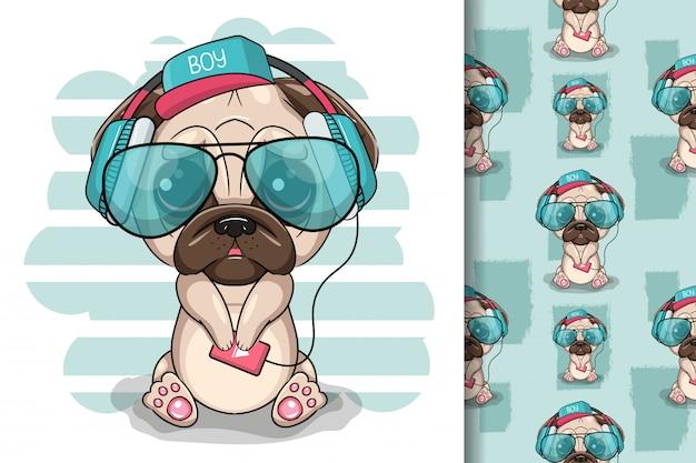 白い背景の上のヘッドフォンでかわいい漫画パグ犬