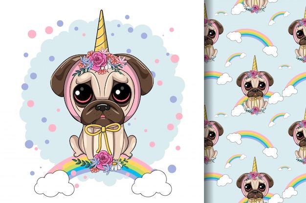 ユニコーンカスタムでかわいい漫画パグ犬