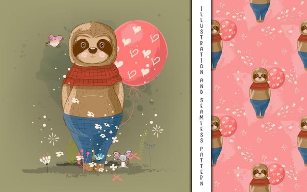 Симпатичные рисованной мультфильм ленивец. принт, детский душ