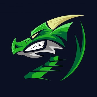 Зеленый голова дракона логотип драконы глава символ