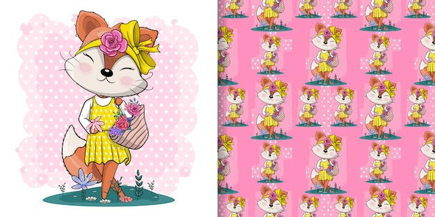 Милая лиса с цветами иллюстрации для детей