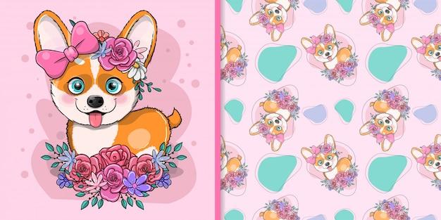 Милый мультфильм собака корги с цветами