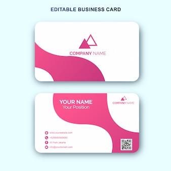 Простой розовый белый шаблон визитной карточки