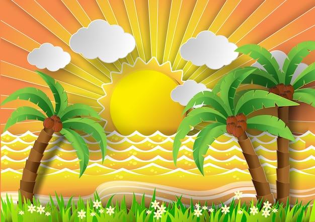サンブルーとビーチのココナッツ木。
