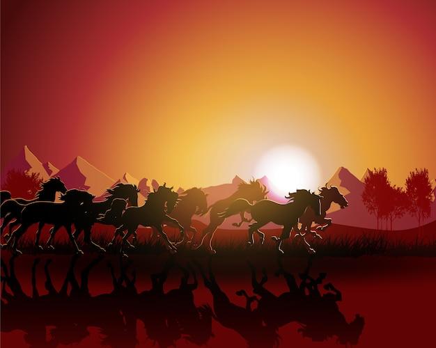 夕日の背景に馬のシルエット。