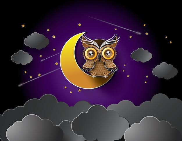 フクロウと月のベクトル。
