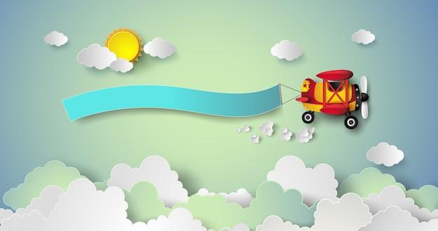 Летающий самолет с баннером.