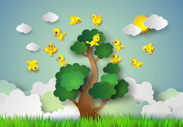 木の上を飛ぶ鳥。