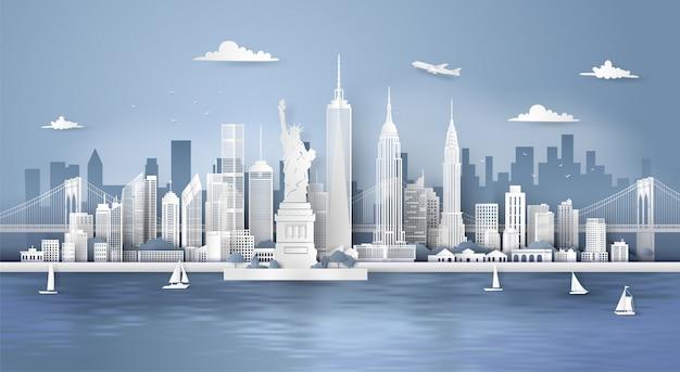 マンハッタン、ニューヨークの都市の高層ビル、