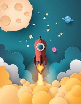 宇宙ロケット打ち上げと銀河。ペーパーアートスタイル。