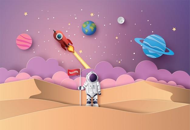 月面の旗を持つ宇宙飛行士、