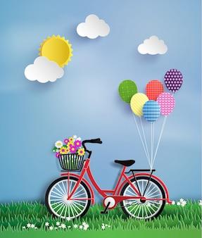 庭で自転車