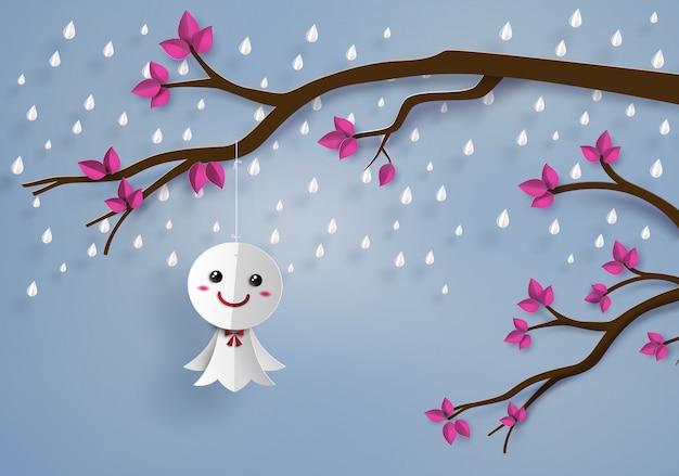 雨に対する和紙人形