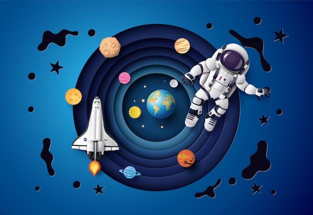 成層圏に浮かぶ宇宙飛行士。ペーパーアートとクラフトスタイル。