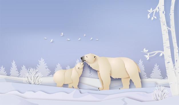ホッキョクグマと野生動物の冬景色