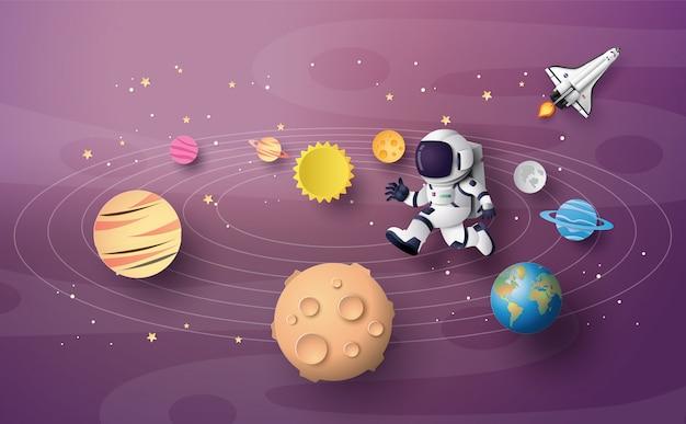 宇宙飛行士宇宙飛行士が成層圏を走っています。ペーパーアートとクラフトスタイル。