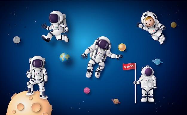 宇宙飛行士宇宙飛行士が成層圏に浮かんでいます。ペーパーアートとクラフトスタイル。