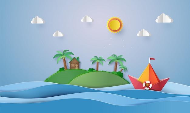 カラフルな紙の帆船、紙のカットと折り紙。