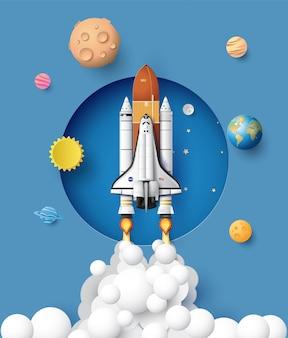 ビジネスコンセプトスペースシャトルの空への進水、ペーパーアートおよびクラフトスタイル。