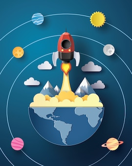 Запуск космической ракеты и галактики.