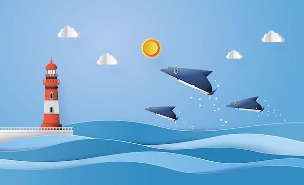 Бумага художественно сделанная дельфин