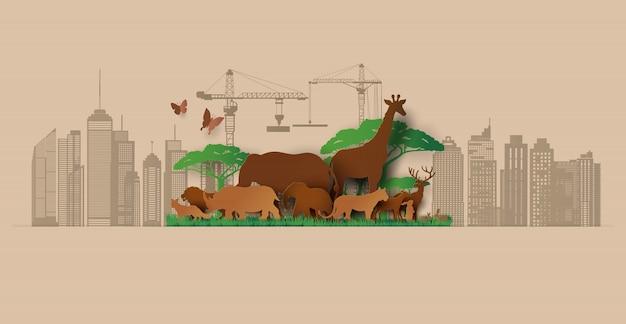 Силуэты животные бумага вырезать стиль. спасти животных