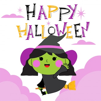 かわいい魔女キャラクターと幸せなハロウィーンのグリーティングカード