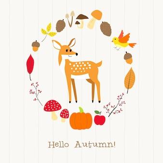 秋のフレームカードを持つ鹿