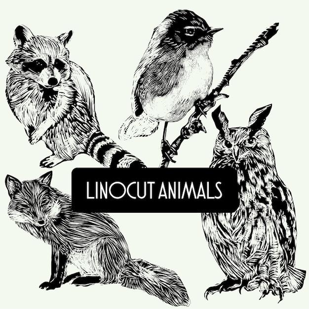Животные-линогравюры