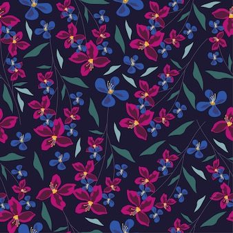 紫色の蘭の花と葉のシームレスパターン