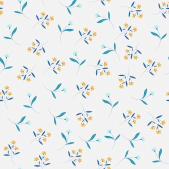 黄色と青の花のシームレスパターン
