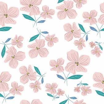 ピンクの花と葉のシームレスパターン