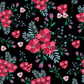ヴィンテージの赤い花のシームレスパターン