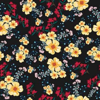 ヴィンテージの黄色と赤の花のシームレスパターン