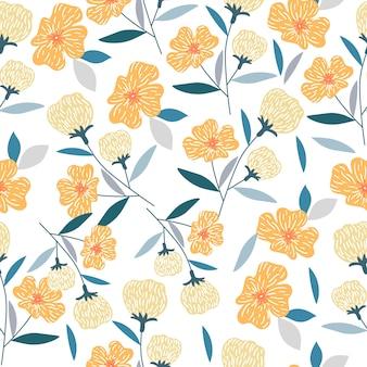 オレンジ色の花のシームレスパターン