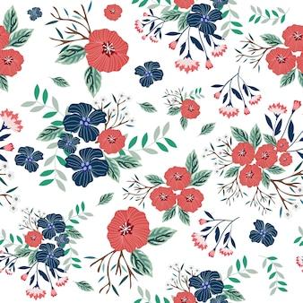 青と赤の花のシームレスパターン